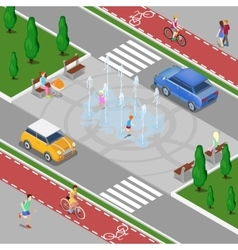 Isometric City Fountain with Children vector image vector image