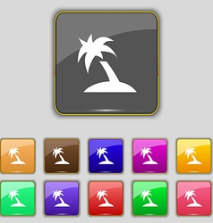 Palm tree travel trip icon sign set with eleven vector