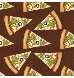 Seamless pattern scetch and color pizza vector image