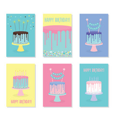 set of birthday greeting cards with cakes vector image