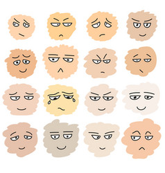 set of hand drawn funny faces vector image