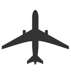 black and white plane icon isolated on background vector image