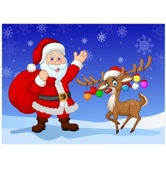 Cartoon Santa clause with deer vector image vector image