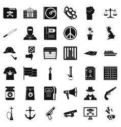 computer crime icons set simple style vector image