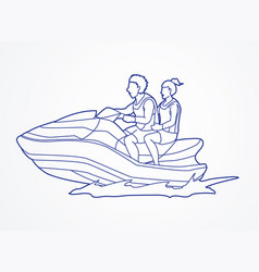 couple riding jet ski man and woman enjoy riding vector image vector image