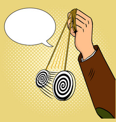 hand of hypnotist with pendulum pop art vector image vector image