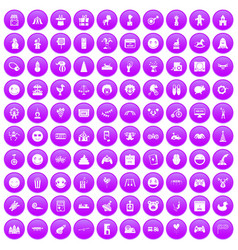 100 funny icons set purple vector
