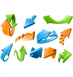 3D arrow signs vector image