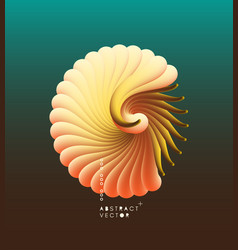 3d with seashell nautilus object with smooth vector