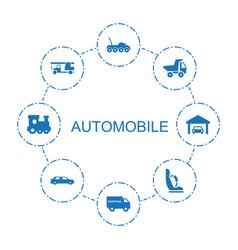 8 automobile icons vector