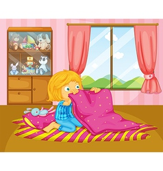 A girl folding her blanket vector
