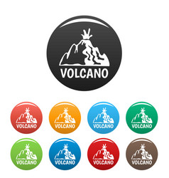 active volcano icons set color vector image