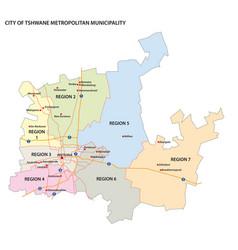 administrative map city tshwane pretoria vector image