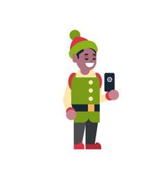 African american man elf santa claus helper hold vector