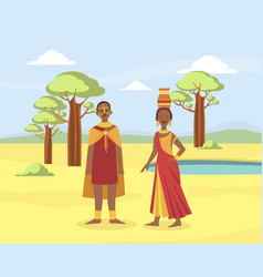 African family couple young man and woman vector