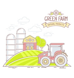 Agribusiness of colorful green farm life wi vector