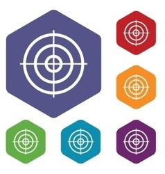 Aim hexagon icon set vector