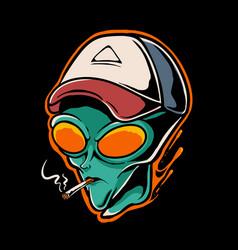Alien smoking vector