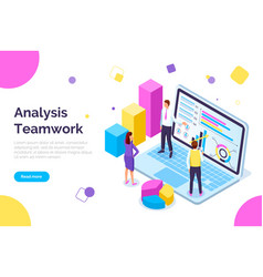 analysis teamwork people working together web vector image