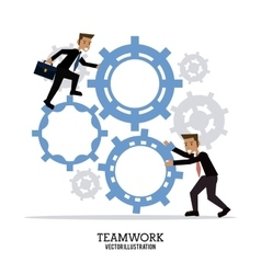 Avatar gear teamwork support design vector