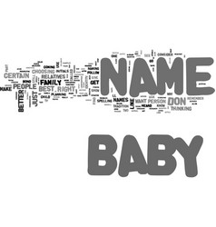 baby name text word cloud concept vector image