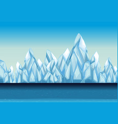 Background with glacier and ocean vector