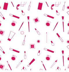Beauty and care cosmetics red and white seamless vector image