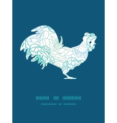 Blue line art flowers rooster silhouette vector