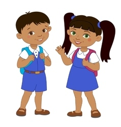 Boy and girl with backpacks pupil stay cartoon vector