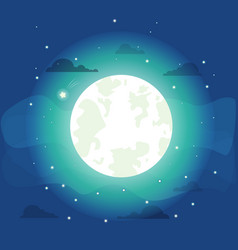bright moon with small stars vector image