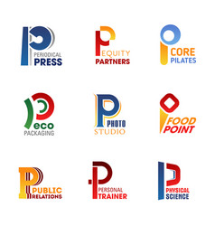 business icons and symbols of letter p vector image