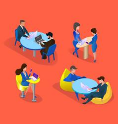 business people set isolated on orange background vector image
