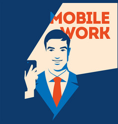 Businessman looking at smartphone mobile work vector