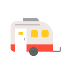 Camper car flat icon on white background vector