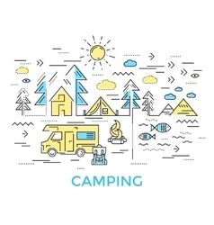 Camping Line Composition vector