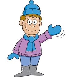 Cartoon boy earing winter clothes vector image