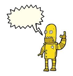 Cartoon waving gold robot with speech bubble vector
