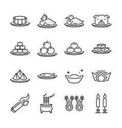 Chinese ancestor worship line icon set vector