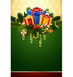 Christmas card with fir mistletoe and decoration f vector