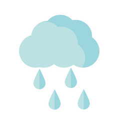 Cloud rain drops sky flat icon style vector