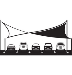covered car parking shed vector image