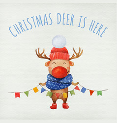 Cute christmas deer watercolor character vector