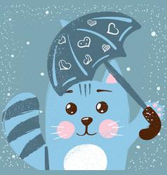 cute funny cat rain vector image