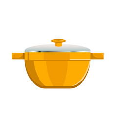 Deep saucepan with glass cover and yellow corpus vector