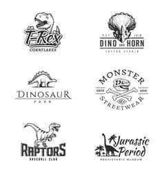 Dino logo set Dinosaur logotype Raptor sport vector image