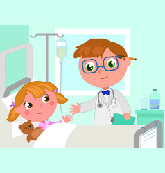 Doctor and girl in hospital bed vector