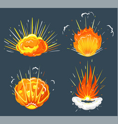 exploding bomb cartoon explosions isolated icons vector image