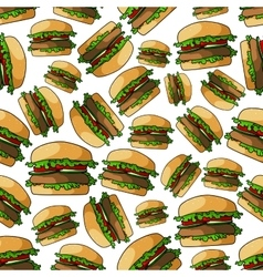 Fast food burgers seamless pattern vector image
