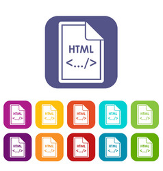 File html icons set vector