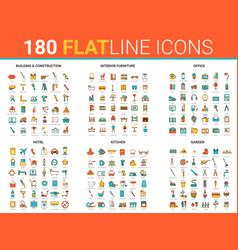 Flat thin line icons creative vector